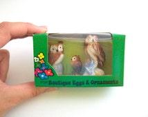 Miniature Owls, Terrarium Owl, Terrarium Miniature, Miniature Owl Set, Owl Figurine, Fairy Garden Owl, Owl Family, Egg Diorama, Terrarium