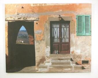Original Door and Stone Photograph on hangable tile.