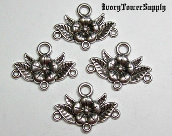 15 Flower with Leaf Metal Connector Charm, Flower Drop Chandalier Earring Components
