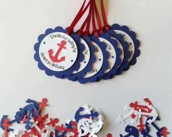12 Anchor Gift tags-Favor Tags-Hang Tags-Sailor Gift Tags-Nautical Theme Baby Shower-Nautical Theme Party-Navy Red and White-Custom