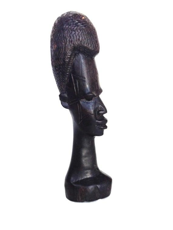 Wooden African tribal head vintage wood hand made art Tanzania