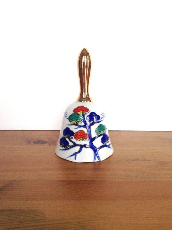 Ceramic bell asian decor hand painted birds and flowers gifts under 10
