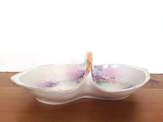 Nippon antique candy dish rising sun mark vintage floral gifts for mom