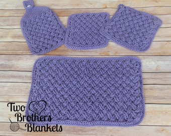 Instant Download- Crochet Pattern- Celtic Weave Kitchen Set