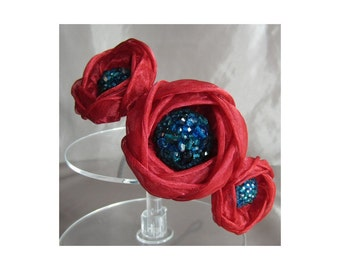 50% SALE - Red and teal triple silk peony headpiece