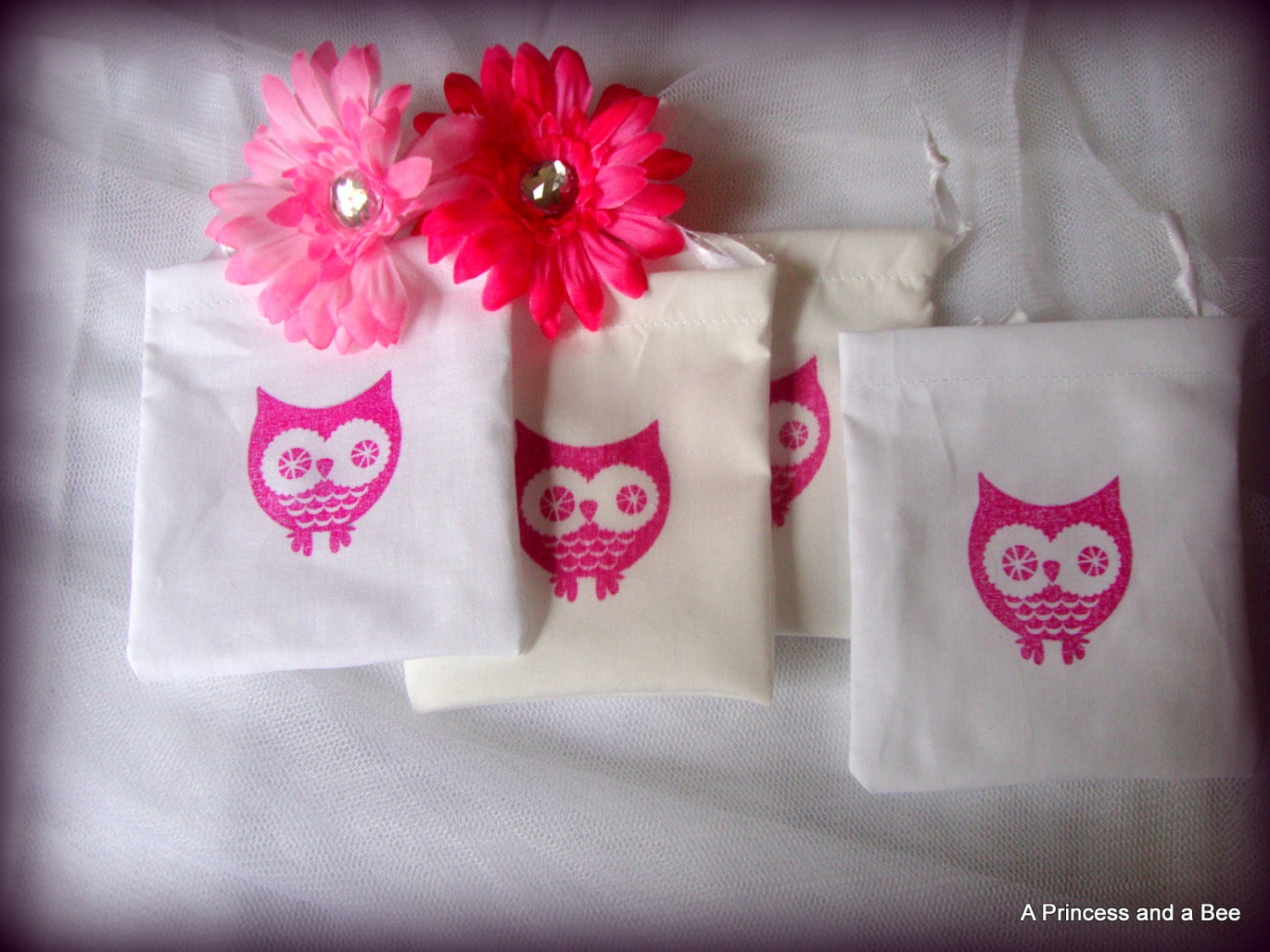 owl themed baby shower treat bags pink party favor bags