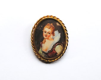 Antique French Hand Painted Brooch