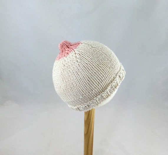 Bamboo and silk knit Boobie hat Newborn baby nursing hat