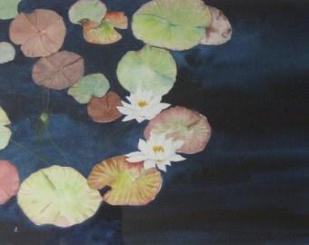 Watercolor Waterlilies Watercolour Greetings Cards Four Handmade Watercolor Art Cards, Blank Notecard Set