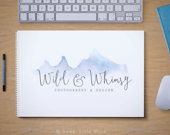 Watercolor Logo Design - mountain logo design - photography logo and watermark