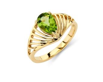 14K Gold Pear Shape Peridot Ring, Peridot Ring, Gold Ring, Fancy Ring, Fancy Jewelry, Peridot Jewelry, Gold Jewelry, Peridot