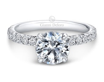 Solitaire French Pave Engagement Ring 8mm Round Cut Forever Brilliant Moissanite and 0.41 ct.tw Round Diamonds