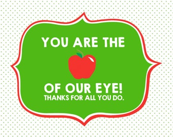 Apple of Our Eye Teacher Appreciation Sign 5x7