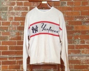 Vintage 80s New York Yankees MLB Knit Script CLIFF ENGLE Baseball Sweater - Large