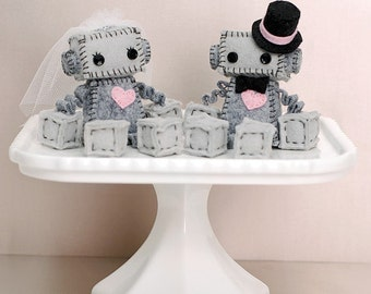Mini Robot Cake Toppers - Bride and/or Groom Robots - Geek Wedding Plush Robots