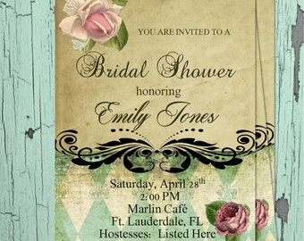 Digital DIY Printable Bridal Shower Elegant French Country with Roses -
