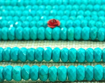 15 inhes of  Turquoise faceted rondelle beads in 5x8mm