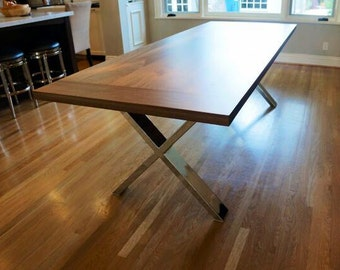 Custom Indoor/ Outdoor Rustic Modern/ Contemporary Walnut  Dining Table With Chromed Base