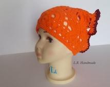 Crochet Girls Head scarf, Headscarf, Headband, Orange Hair Accessories, Young girls, Teen, Women Head Scarf, Kerchief, Bandana
