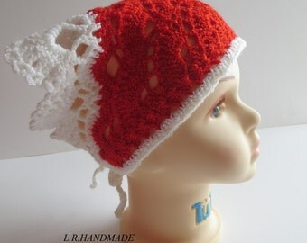 Crochet Girls Headscarf, Head scarf, Headband, Red and White Hair Accessories, Young girls, Teen Head Scarf, Kerchief, Bandana