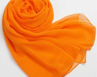 Orange Silk Scarf -Orange Scarf -AS 2015-18