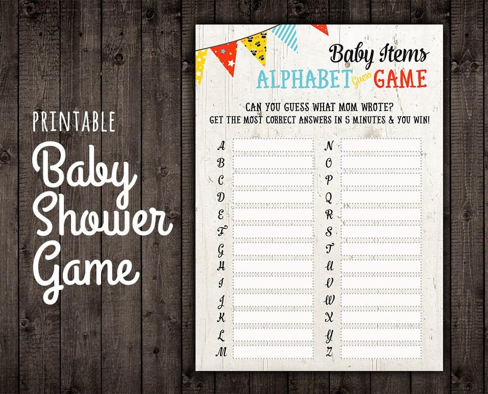 baby shower game digital baby shower alphabet game co ed
