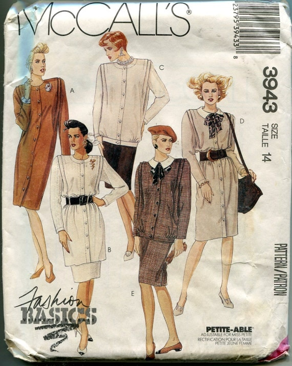 1980s Suit Pattern McCalls 3943 Tunic Blouse Skirt Bow Tie