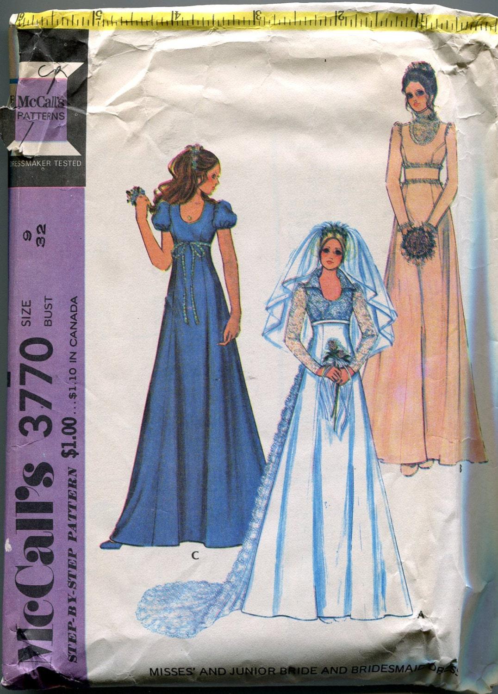 1970s wedding dress pattern mccalls 3770 evening dress for Wedding dress patterns mccalls