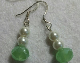 Jade Czech Crystal and Pearl Earrings