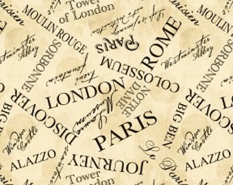 1 yard A Ticket in Hand by Cynthia Coulter For Wilmington Prints Words All Over Ivory/Black
