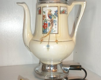 Vintage Royal Rochester Porcelain Electric Percolator
