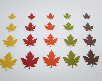 Paper leaf die cuts / Maple leaf,Fall,Thanksgiving, Table Decor Die Cut Leaves/ 50 pc/ fall colors