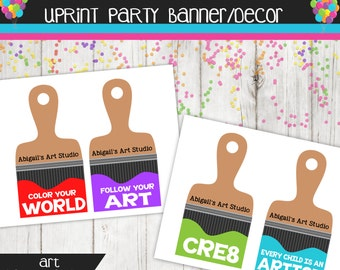 Large Paint Brush Banner - Art Party - Approx 5x7 Brush Personalized with name