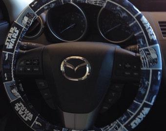 Blue Star Wars Steering Wheel Cover featuring Darth Vader, Luke Skywalker and C-3PO
