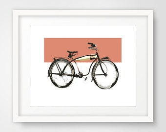 Vintage Bike, Bicycle art, Old School Bike, Coral Bike Print, Downloadable Print, Download Art, Elgin Bicycle, Cruiser Bike Art,Modern Print