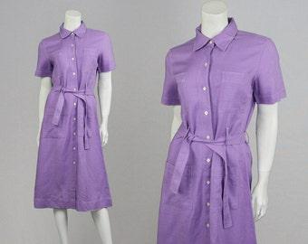 Vintage 60s 70s DONALD DAVIES Irish Linen Dress Purple Mod Dress Shirtwaist Dress 1960s Shift Dress Pastel Purple Dress Made in Ireland