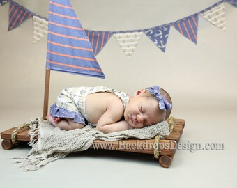 Sailor Prop Flag newborn Photography props Toddlers prop raft Wooden Props  Newborn Photography Props  Beach Props  Pirate  Boat Props