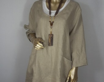 Linen tunic, lagenlook, beige, plus size, shabby chic, hankie hem,  layered look, top, dress, XS-3XL. Free shipping in USA.