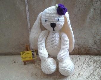 Kids Easter gift, crochet white bunny, big feet bunny, crochet animal, white rabbit, soft toy, gifts for kids