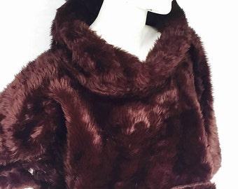 Chocolate Brown Faux Fur - Box Crop OSFM