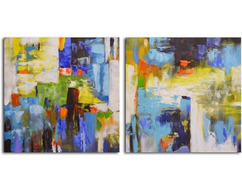 """Hand painted Acrylic Painting set of 2 - 32"""" x 32"""" Gallery wrapped and stretched canvas art, abstract, textured, modern painting"""