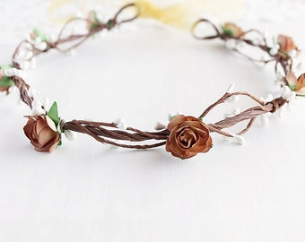 Boho Chic Halo, Rustic Crown, Beige Rose Crown, Woodland Headband, Rose Bridal Halo, Flower Girl Wreath, Toddler Crown, Beige Wedding Crown