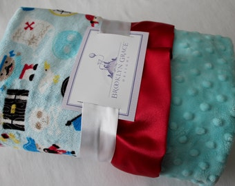 Pirate Minky Print with Salt Water Blue Minky Dot and Red Satin Trim - Pirate Hat, Ship, Water, Nautical, Hook,