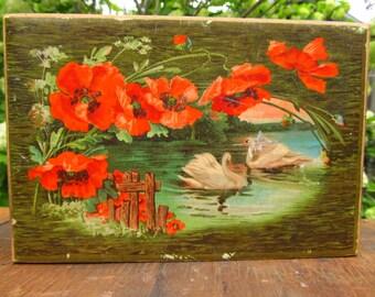Vintage Green Shabby Chic Swan Trinket Box - Made in Germany - Bird Trinket box