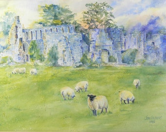 Framed Watercolor Landscape Painting Sheep by English Castle Ruins by Jode Gilbert