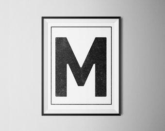 INSTANT DOWNLOAD Letter M Printable Monogram, art print 8x10