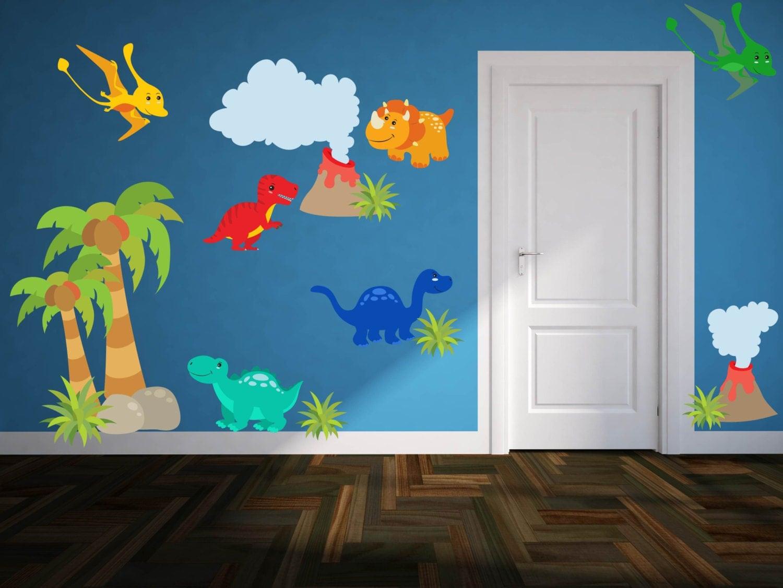 dinosaur wall decals boys room wall decals dinosaur. Black Bedroom Furniture Sets. Home Design Ideas