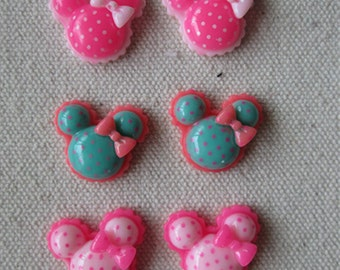 Wholesale  lot    30pcs resin polka mouse head   flatback cabochon hairbow hair accesory supplies