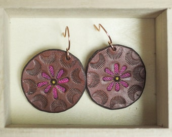 NEW! Leather Disk Earrings