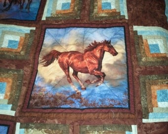 Horse Quilt, Nature Quilt, Wild Animal Quilt, Camoflauge Quilt,  (made to order) Pick Size, Pick color